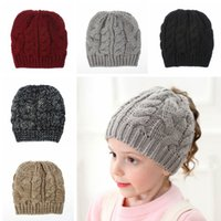 Wholesale baby hat party resale online - Girl Knit Ponytail Beanie Hat Baby Warm Winter Solid Color Crochet Skull Cap Kids Outdoor Party Hats TTA1823