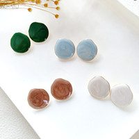 Wholesale stud vintage accessories resale online - AOMU New Korea Vintage Pattern Geometric Round Circle Resin Stud Earrings for Women Girls Ear Accessories