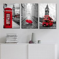 Wholesale red telephone booth resale online - Paris Black And White Photography Print Big Ben Poster Red And Yellow Double Decker Bus Art telephone booth Nordic Style Decor