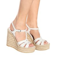 women designer sandals with logo and box luxury women shoes high heels straw woven wedge shoes