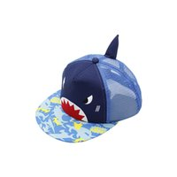 Wholesale baby baseball caps hats resale online - Cartoon Baby Shark Mesh Hat Sun Shading Baseball Cap Shopping Snapback Blue Thin Section Comfort Hot Sales xj C1