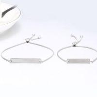 jóias graváveis venda por atacado-Moda Feminina Retângulo Pingente Engravable Pulseira Ajustável cuff Bangle Jóias Presente para para a Mãe Esposa Meninas