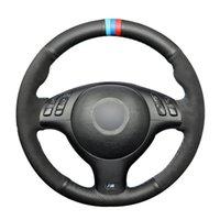 Black Natural Leather Black Suede Car Steering Wheel Cover for BMW E46 E39 330i 540i 525i 530i 330Ci M3 2001-2003