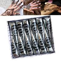 indische körperaufkleber großhandel-12 Stücke 25g Golecha Natürliche Mehndi Henna Kegel Indische Henna Tattoo Paste für Temporäre Tätowierung Aufkleber Mehndi Make-Up Körperbemalung