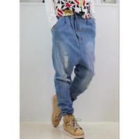 американский гарем брюки мужчины оптовых-Men's Jeans Men Harem Denim Pants American Baggy Jeans Loose Trousers SHIERXI