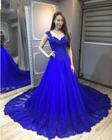 fada7accccdf1 Royal Blue Prom Dresses Long A-Line Scoop Neckline Cap Sleeve Abiti da sera  in pizzo Tulle Cocktail Party Dress Abito formale