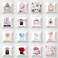 cojines de almohada personalizados al por mayor-Botella de perfume de impresión de la manera de almohada coche cojín del sofá de tela hogar fundas de colchón funda de almohada de apoyo al por mayor a mapa personalizado