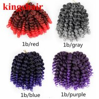 Wholesale senegalese hair braiding for sale - Group buy 8 Jumpy Wand Curl Jamaican Bounce Twist Ombre Gray Synthetic Braiding Hair Extension Roods Pack Crochet Braid Kanekalon Hair For Woman