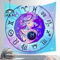 ingrosso arazzo muro viola-New Twelve constellation Tapestry Lotus Mandala Wall Hanging Purple Blue Floral Decorative Wall Carpet Constellation Galaxy Sheets