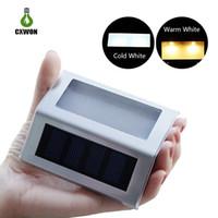 ingrosso buon giardinaggio-La luce di parete del sensore solare portatile di 3 LED funziona automaticamente Luci di piattaforma solari buone per la scala di punto del giardino
