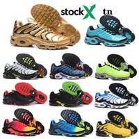 дизайнер обуви краска оптовых-TN Plus SE кроссовки для мужчин Trainer тройного черного Volt Spray Paint Яркого Cactus Hyper синего Мужчины Спорт тапок Дизайнер кроссовок