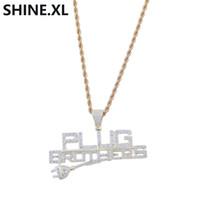 collar de oro de 14k con letras al por mayor-Hip Hop Plug con colgante de letras Iced Out Full Zircon 14K chapado en oro colgante collar hombres Bling Street Jewelry