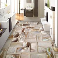 наклейки для ванной комнаты оптовых-Custom Photo Wallpaper 3D Tiles Mosaic Floor Art Mural PVC Waterproof Self-Adhesive Bathroom Restaurant Kitchen Floor Sticker 3D