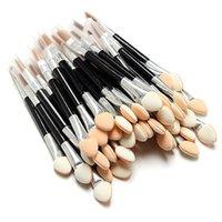 aplicadores de sombra de ojos al por mayor-10 unids Aplicador de Sombra de Ojos Esponja de Doble Acabado Suministros de Maquillaje Cepillos de Sombra de Ojos Portátil Espejo de Uñas Powder Brush
