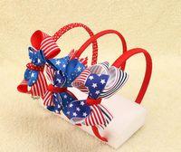 beyaz tüy aksesuarları toptan satış-4 Temmuz Amerikan Bayrağı Kız Bantlar Saç Yaylar ile Kraliyet Beyaz Çizgili Yıldız Hairbands Çocuklar Hediye Saç aksesuarları