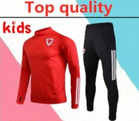 Wholesale teams tracksuit for sale - Group buy 2020 Wales kids soccer tracksuit BALE ALLEN James Ben Davies Wilson camisetas national team Wales children football training suit