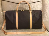 grandes sacos de bagagem de couro venda por atacado-2019 homens duffle mulheres saco de viagem sacos de bagagem de mão saco designer de viagens de luxo homens pu bolsas de couro grande saco corpo cruz totes 55cm