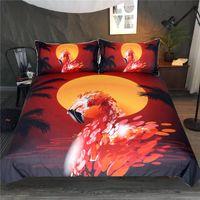 conjuntos de cama de laranja vermelho venda por atacado-Conjunto de Cama Flamingo Vermelho Laranja Capa de Edredão Conjunto de Animais no Pôr-do-sol Têxteis Para o Lar de 3 Peças Colcha de Coqueiros