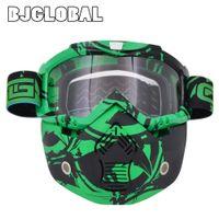 Wholesale open face helmets vintage resale online - 2019 New Motorcycle Helmet Goggles Mask Detachable Motocross Gafas Goggles Glasses Cafe Racer Modular Open Face Vintage Pilot