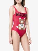moda biquíni mulheres s maiô venda por atacado-MOSC Pequeno Urso Designer de Moda Swimwear Biquíni Para As Mulheres Carta Maiô Bandagem Bi quinis Sexy Maiô S-XL