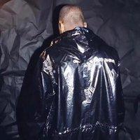 casacos fishtail venda por atacado-Box Logo Fishtail Parka com capuz Raincoat longo do revestimento do revestimento de Hiphop Streetwear Windbreaker Estilo longo com capuz Jacket Raincoat HFLSYY001