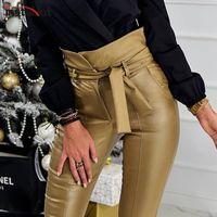 calças de couro preto falso mulheres venda por atacado-InstaHot ouro Black Belt cintura alta lápis Pant Mulheres Faux Leather PU Sashes calças compridas Casual Sexy exclusivo Design de Moda