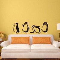 desenho de pinguim preto venda por atacado-Bonito Black White DIY removível do pinguim adesivos de parede Início decorativa Decal berçário dos miúdos do bebê dos desenhos Quarto Padrão Etiqueta # 45