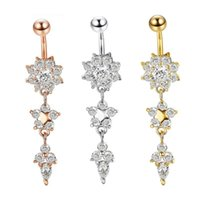 Wholesale Colors Floral CZ L Stainless Steel Jewelry Navel Bars Silver Belly Button Ring Navel Body Piercing Jewelry