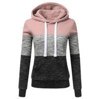 bayanlar xl hoodie toptan satış-2019SPRING NEWLadies'recreational kap spor Moda Günlük Hoodies Kazak Patchwork Bayanlar Kapşonlu Bluz Pullove Womens