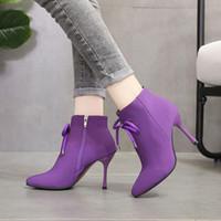 botines morados sexy al por mayor-2019 Mujeres Strecth Botas Tacón de aguja Tacones altos Cremallera lateral con arco Bota de tobillo sexy para mujer Zapatos elásticos de tela elástica Mujer Púrpura