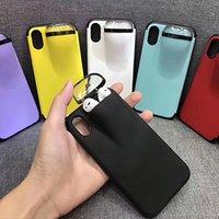 telefon saklama kutuları toptan satış-2'de 1 Telefon Kılıfı Kulaklık Saklama Kutusu iPhone 11 Pro XR XS Max X Airpods 1 2 Pro Yumuşak Silikon Kapak kulaklık Kılıf iPhone 7 8 Artı