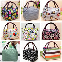 Wholesale canvas floral lunch bag resale online - pg91 Canvas Bags Waterproof Cloth Handbag Lady Bag Convenience Bags Lunch Box Bag Printed Oxford BagTtotes Clutch Bags