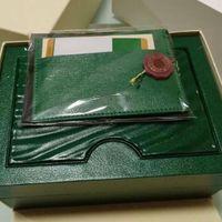 ingrosso branding di orologi-Scatola porta orologi verde originale con carte e documenti Certificati Scatola portafogli per orologi 116610 116660 116710