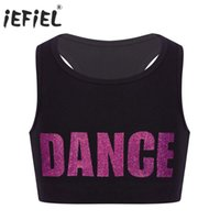 ingrosso reggiseno di danza di performance-Bambina da bambina Racer Back Lettere brillanti DANCE Printed Crop Top Bra per ginnastica Body Costume da ballo Tops Stage Performance