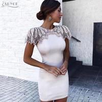 Wholesale diamond club sexy resale online - Adyce New Summer Bandage Dress Woman Celebrity Evening Party Dress Vestido Sexy White Beads Diamond Mini Runway Club Dress T4190615