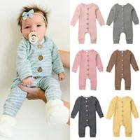 sonbahar çocuğu giyim toptan satış-Bebek Kız Erkek Çizgili Rompers Bebek Çizgili Tulumlar Sonbahar Butik Çocuk Örme Onesies Kıyafetler Çocuk Giyim M676 Tırmanma ısıtın