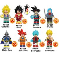figura de majin buu al por mayor-Dragon Ball Z Burdock Hijo Goku Broli Majin Buu Trunks Gotenks Mini figura de acción Juguete Bloques de construcción Ladrillos