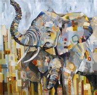 Wholesale home paint oil elephant art resale online - ZYXIAO animal elephant Wall Oil Painting Art picture print on canvas No Frame for bedroom living home mosaic decor gift YH0227