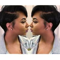 color natural u parte peluca al por mayor-Corto humano Pixie cortado lado U parte poco de encaje frente pelucas de pelo para mujeres negras sin cola Corto Bob sin tapa peluca