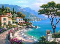 malerei holzrahmen großhandel-Mittelmeer Landschaft DIY Malen Nach Zahlen Kits Malen Auf Leinwand Mit Holzrahmen Für Home Wand Deocr Geschenk