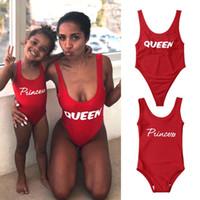 çocuk mayo toptan satış-Kadın Kızlar Aile Eşleşen Mayo Çocuklar Bebek Kız Kolsuz Bodysuit Prenses Kraliçe Tek parça Mayo Banyo Beachwear