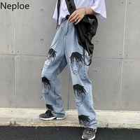 мужчины высокой талией джинсы оптовых-Neploe Cartoon Character Printed Straight Jeans Pants Summer Harajuku Loose Trousers High-waisted Women Men Long Pants 53180