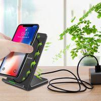 зарядное устройство для док-станции оптовых-Ци Беспроводное зарядное устройство Стенд док-станция для iPhone XS Max 8 11 Samsung S10 Plus S6 край Примечание 8 держатель с подзарядкой базы горячей
