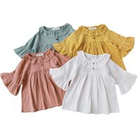 bluzlar korece çocuklar toptan satış-Moda Yaz Kız Giyim 2019 Çocuklar Bluz Katı Pamuk Kız Gömlek Bebek Bluz Yaka Gömlek Pamuk Japonya Kore Tarzı