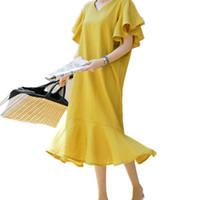 vestido coreano da camisa das mulheres da forma venda por atacado-Moda Borboleta Manga De Algodão De Linho Solto Vestido De Verão Projeto Coreano Babados V -Neck Lady Camisa Vestido Das Mulheres Vestido Ocasional