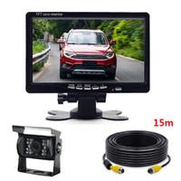 monitor de camara retrovisor 24v al por mayor-7 pulgadas de pantalla del estacionamiento del autobús del automóvil Monitor TFT LCD inverso + 15M Cable de video + 24V LED Cámara de visión trasera