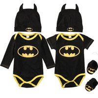 Wholesale newborn girls summer clothing sets for sale - Group buy Newborn Baby Boy Girl Clothes Batman Rompers Shoes Hat Costumes Outfits Set