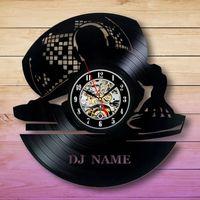 ingrosso idee di arti-Modern Art 2019 Dj Name Design Vinyl Record Orologio da parete Regali Idea Compleanno Matrimonio Anniversario Room Decor