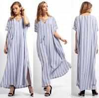 roupa sexy árabe venda por atacado-Sexy Lace Up V Pescoço Manga Curta Maxi Mulheres Vestido Agradável Longo Solto Listrado Árabe Vestidos Para As Mulheres Roupas Islâmicas FS5822