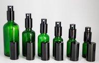 ingrosso 15ml atomizzatore di profumo ricaricabile-Bottiglie di spruzzo di profumo di vetro verde superiore di alta qualità 10ml 15ml 20ml 30ml 50ml 100ml Atomizzatore Bottiglie riutilizzabili per olio essenziale cosmetico